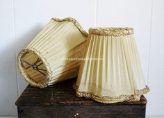 Pair Pleated Silk Boudoir Lamp Shades in by VintageEmbellishment, $28.00