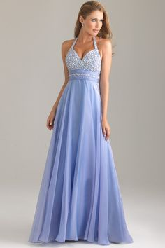 Prom Dresses A Line Halter Floor Length Chiffon