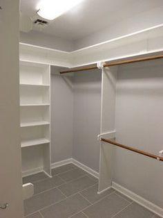 Corner closet deluxe rod and shelf on corner unit for - Small closet design layout ...