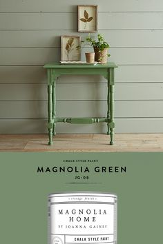 For a fast & fun DIY project, add a vintage look to a piece of furniture with this crisp green shade. Chalk style paint is available in a range of colors—explore them all online. Green Furniture, Paint Furniture, Furniture Projects, Furniture Makeover, Dresser Makeovers, Furniture Design, Green Paint Colors, Paint Colors For Home, House Colors