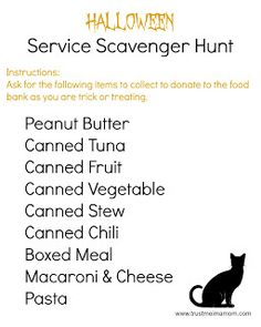 6 Ways to Serve on Halloween (Free Printable) - Halloween Service Trick or Treating Scavenger Hunt List Service Scavenger Hunt, Scavenger Hunt List, Halloween Games, Halloween Boo, Holidays Halloween, Service Ideas, Community Service, Holiday Decorating, Girl Scouts