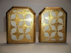 Antique Italian Florentine Toleware BOOKENDS Gold Gilt Wood #HollywoodRegency #Unknown
