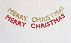 Merry Christmas Glitter Banner (red or gold). $24.50, via Etsy.