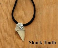 Shark Tooth Pendant.  1 inch shark tooth wire wrapped, hung on 20 inch black leather.  Birthday or friendship gift for him or her. by BettyCampbell on Etsy