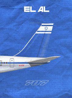 EL AL Airlines 707, by Rick Aero www.Facebook.com/VintageAirliners www.VintageAirliners.com