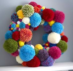 Learn how to make a pom pom wreath for Christmas with this great how to, perfect for both grown up bedroom doors as well as little ones! Let's get making! Shared by SPCN. Crafts For Teens, Hobbies And Crafts, Diy And Crafts, Arts And Crafts, Christmas Makes, Christmas Diy, Christmas Decorations, Christmas Pom Pom Crafts, Christmas Wreaths To Make