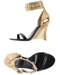 8ea84ebae Alexander McQueen Gold Sandals - Lyst Gold Sandals, Shoes Sandals,  Espadrilles, Wedges,
