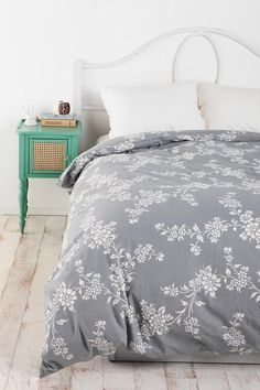 Vine Flower Duvet Cover - Love this color.  This would work in any bedroom and be really pretty if you added bright accent colors throughout the rest of the room. #urbanoutfitters #bedroom #bedding