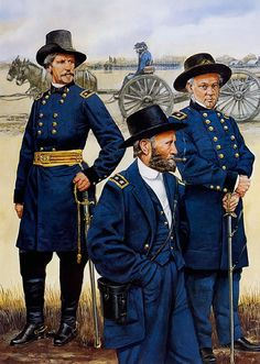 Union Generals Nathaniel Banks, Ulysses S Grant and Henry Halleck.