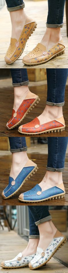 47% OFF! Floral Print Hollow Out Breathable Color Match Casual Slip On Flat Shoes. SHOP NOW!