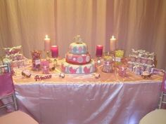 pretty in pink with bling baby shower dessert buffet table