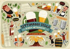Italian Craft Beer Festival Poster Peter Donnelly Illustration