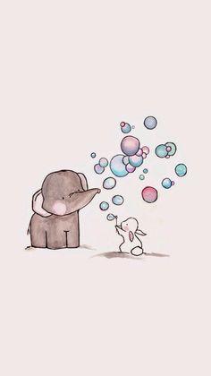 Soap bubbles, one rabbit and his elephant friend cute art, elephant phone Illustration Mignonne, Cute Illustration, Elephant Illustration, Animal Illustrations, Cute Backgrounds, Cute Wallpapers, Art Mignon, Soap Bubbles, Nursery Art