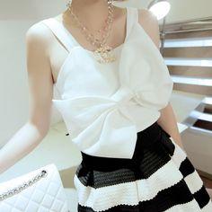 shirt Vest - http://zzkko.com/n244650-OSEROLA-0829-2WAY-playfl-temperament-big-bow-chiffon-shirt-Vest.html $22.91