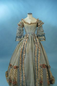 1860's sheer print dress (front view)