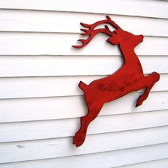 Reindeer Christmas Decor Red Wooden Flying Deer Reindeer Holiday Decor