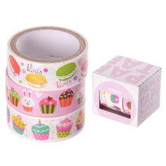 Cupcake Design Klebeband- 3 Rollen