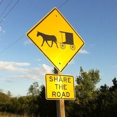 Share the road signs are common also in Western PA were we too have a large Amish community.
