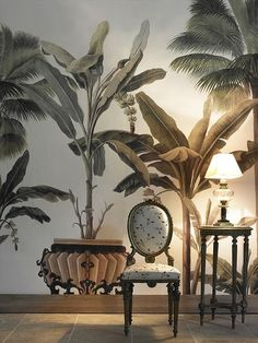 """Ace Picks"""" Nine Favorite Tropical Wallpapers Great mural with banana & palm trees.Great mural with banana & palm trees. Tropical Wallpaper, Wall Wallpaper, Botanical Wallpaper, Wallpaper Samples, British Colonial Style, Beautiful Interiors, Chinoiserie, Wall Design, Deco Design"""