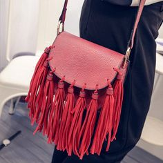 Retro Women's Crossbody Bag With Tassels and Solid Color Design