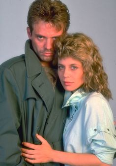 Michael Biehn and Linda Hamilton in a publicity still for The Terminator (1984)