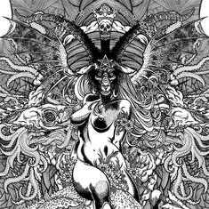 Illustration beautiful tattoo artist Azazel Demon Goddess baphomet occult Gods fancybutts