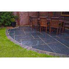 black basalt patio outdoor  | Black Slate Patio Paving 600x900 - Natural Slate Paving - Slate Garden ...
