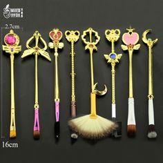 Brochas de maquillaje Sailor Moon, lote de 8 unidades diferentes. Para frikis y coleccionistas.