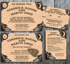 """Ouija invitation for a Halloween wedding including the RSVP and guest information card. """"Conjuring Love"""" is a printable wedding invitation set and perfect for your Halloween wedding. Pick between the design with or without the planchette. By LangDesignShop via Etsy"""