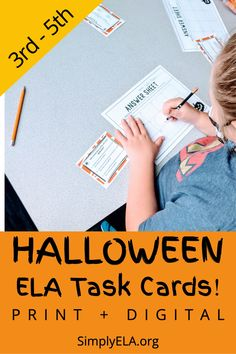 #Halloween week is so fun in upper elementary! And... we all know it can also be VERY chaotic. This resource is the perfect way to ENGAGE your learners during the week of Halloween while also diving deep into important GRAMMAR SKILLS and standards. These 12 Halloween-themed ELA task cards come in 3 different versions: -Printable task cards and printable answer sheet -Interactive task cards on Google Slides -Self-grading task cards on Google Forms Halloween Week, Grammar Skills, English Language Learners, Ell, Upper Elementary, Word Work, Sight Words, Task Cards, Phonics