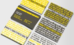 What's Your Fitness Goal? If you're a personal trainer, run a fitness centre or an exercise class, here's a bright and provocative, no-nonsense Business Card design that will effectively remind your clients why they should give you a call. You Fitness, Fitness Goals, Fitness Logo, Business Card Design, Business Cards, Female Personal Trainer, Goals Template, Job Info, Fitness Motivation Pictures
