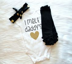Baby Girl Clothes, I melt daddy's heart bodysuit, Leg Warmer Set, Hospital Outfit, Coming home outfit, Daddy's Girl, Daddy Daughter Shirt by LittlePinkPumpkin on Etsy https://www.etsy.com/listing/259538795/baby-girl-clothes-i-melt-daddys-heart
