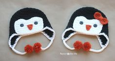 Repeat Crafter Me: Crochet Penguin Hat Pattern...how cute are these little hats?!?!?!