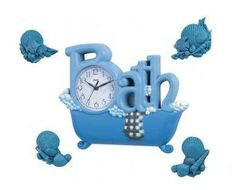 Novelty Bath Clock Set with Sea Shells - Blue  (Also Available in Brown, Grey and Green)