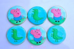 Peppa Pig, George and his dinosaur, cookies, iced biscuit Cut Out Cookies, Sugar Cookies, Dinosaur Cookies, George Pig, Iced Biscuits, Custom Cookies, Peppa Pig, Stuff To Do, Cookies