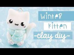 Kawaii Winter Kitty Cat charm polymer clay tutorial