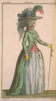 """Magasin des Modes, 1787:  The Redingote, named for """"Riding Coat,"""" was inspired by men's fashion, and included collars, button fronts or cutaway fronts wor..."""