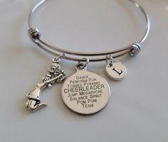 Cheerleader bangle Cheer bracelet Cheerleader by MemorablesCharms