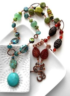 OM Gemstone Crystal Necklace  Long Layering Chakra OM by ShySiren, $158.00