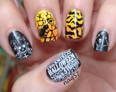 halloween nail art mani with stamps