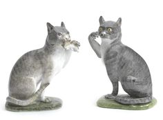 A pair of Meissen models of cats, circa 1741