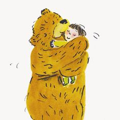 Bernard gave everyone a bearhug. By Helen Stephens author and illustrator. From How to Hide a Lion from Grandma.