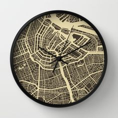 Amsterdam Map Wall Clock