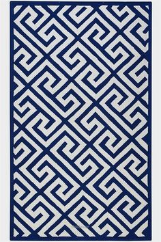 Inexpensive hooked wool rug with Greek Key pattern from Home Decorators Collection; available in 3 colors and variety of sizes. Greek Pattern, Pattern Art, Navy And White Rug, Greek Decor, Rebel, Greek Key, Greek Blue, Carpet Design, Wool Area Rugs