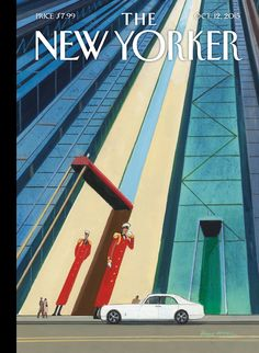 The New Yorker cover, October 2015 by Bruce McCall The New Yorker, New Yorker Covers, Read Magazines, Vintage Magazines, Vintage Photos, Print Magazine, Magazine Art, Magazine Covers, Caricature