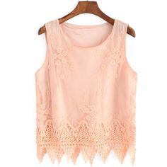 Jacquard Scalloped Hem Pink Tank Top (€9,83) ❤ liked on Polyvore featuring tops, shirts, crop top, pink, crop tank top, red tank, pink tank, red vest and crop tank