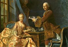 1754 Marquise de Pompadour and Marquis de Marigny (her brother) by Alexander Roslin