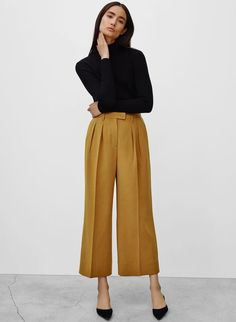 wide legged mustard gold pants