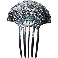 Art Deco Floral Design Celluloid Mantilla Hair Comb Vintage 1920