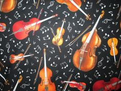 STRING MUSIC INSTRUMENTS VIOLIN CELLO MUSIC NOTES COTTON FABRIC FQ…